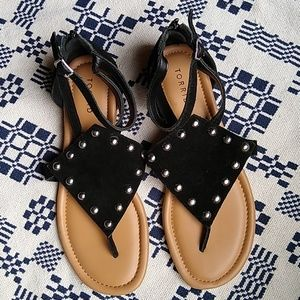 Torrid Studded Faux Leather T- Strap Sandals